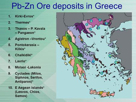 Pb-Zn Ore deposits in Greece