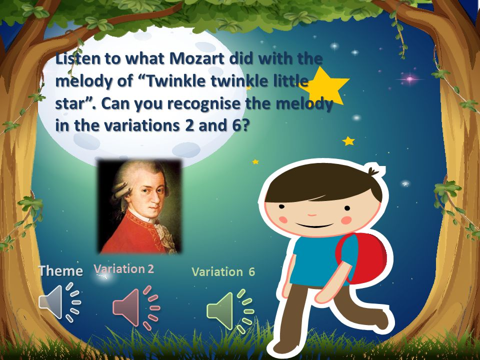 Theme Variation 2 Variation 6 Listen to what Mozart did with the melody of Twinkle twinkle little star .