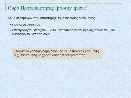 TexPoint fonts used in EMF. Read the TexPoint manual before you delete this box.: AA A A A Ουρά Προτεραιότητας (priority queue) Δομή δεδομένων που υποστηρίζει.