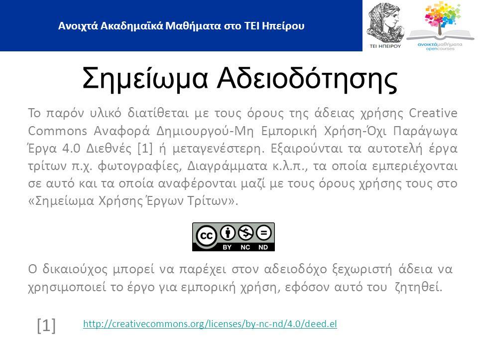 Τέλος Ενότητας Επεξεργασία: Μυριούνης Χρήστος Άρτα, 2015 21 Ανοιχτά Ακαδημαϊκά Μαθήματα στο ΤΕΙ Ηπείρου