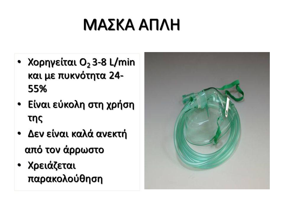 ΜΑΣΚΑ Venturi Διαθέτει κωδικοποιημένες βαλβίδες σε διάφορα χρώματα με τις οποίες ρυθμίζεται η πυκνότητα του Ο 2 Διαθέτει κωδικοποιημένες βαλβίδες σε διάφορα χρώματα με τις οποίες ρυθμίζεται η πυκνότητα του Ο 2 4l/min=24-28% 4l/min=24-28% 8l/min=35-40% 8l/min=35-40% 12l/min=50-60% 12l/min=50-60% Χρησιμοποιείται ευρέως στις μονάδες και τα νοσηλευτικά τμήματα Χρησιμοποιείται ευρέως στις μονάδες και τα νοσηλευτικά τμήματα