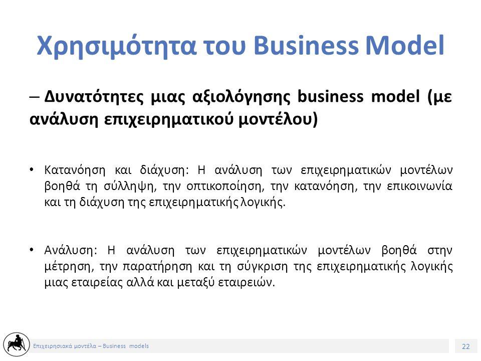 23 Επιχειρησιακά μοντέλα – Business models Χρησιμότητα του Business Model – Δυνατότητες μιας αξιολόγησης business model (με ανάλυση επιχειρηματικού μοντέλου) Διαχείριση: Η ανάλυση των επιχειρηματικών μοντέλων βοηθά στη σχεδίαση, στην προετοιμασία, στη διευκόλυνση των τροποποιήσεων, στην εφαρμογή των επιχειρηματικών μοντέλων.