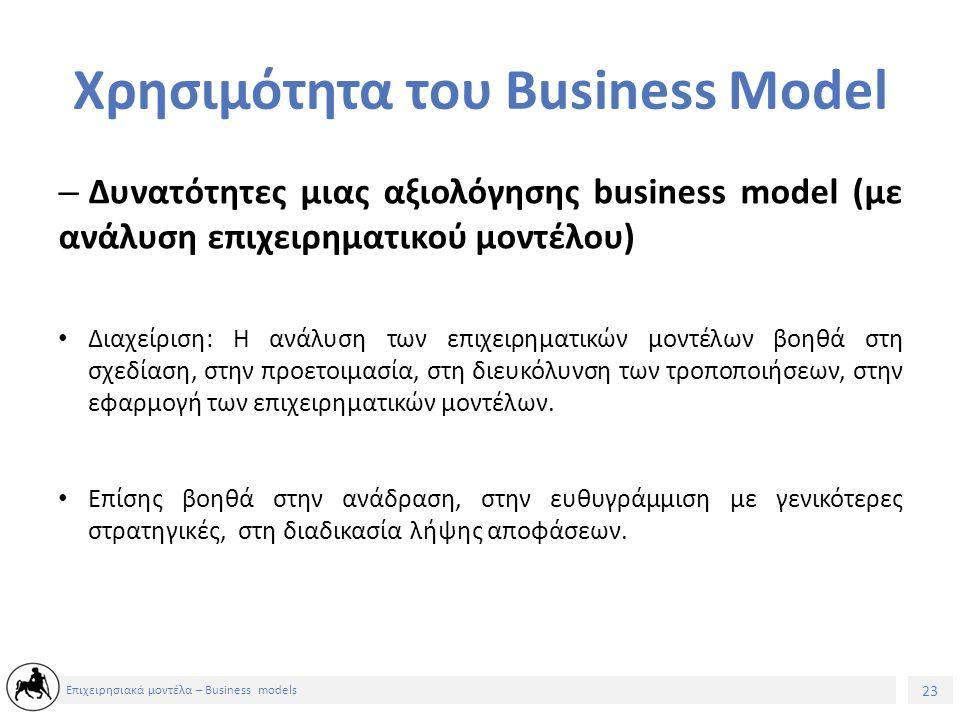 24 Επιχειρησιακά μοντέλα – Business models – Δυνατότητες μιας αξιολόγησης business model (με ανάλυση επιχειρηματικού μοντέλου) Προοπτική: Η ανάλυση των επιχειρηματικών μοντέλων συνεισφέρει στην υποστήριξη της καινοτομίας, την ανάπτυξη χαρτοφυλακίων επιχειρηματικών μοντέλων και την προσομοίωση και δοκιμή διαφόρων business models.