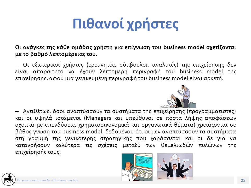26 Επιχειρησιακά μοντέλα – Business models Αξιολόγηση – -Μεταξύ Ιουνίου και Οκτωβρίου του 2003, διεξήχθησαν συνεντεύξεις με managers και σύμβουλους για να αξιολογηθεί η χρήση των επιχειρηματικών σχεδίων (business models) στις επιχειρήσεις.