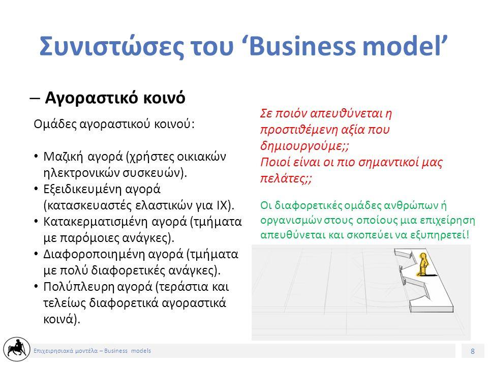 9 Επιχειρησιακά μοντέλα – Business models Συνιστώσες του 'Business model' – Προτεινόμενη αξία Τι είδους αξία παράγουμε για τους πελάτες μας; Ποιά ανάγκη των πελατών καλύπτουμε; Τι τύπους προϊόντων και υπηρεσιών προσφέρουμε σε κάθε τομέα αγοραστικού κοινού της επιχείρησής μας; Η δέσμη προϊόντων και υπηρεσιών που δημιουργούν αξία για μια συγκεκριμένη ομάδα αγοραστικού κοινού.