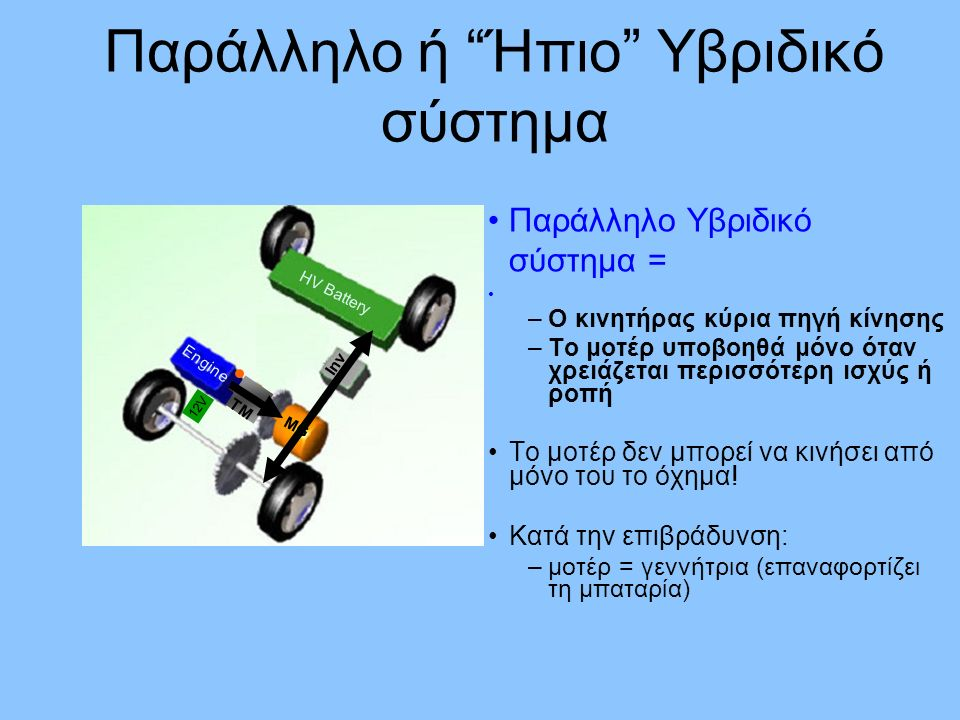 Σειριακό/παράλληλο σύστημα ή Ισχυρό Υβριδικό σύστημα Ισχυρό υβριδικό σύστημα = Συνεργασία –Ηλεκτρικό μοτέρ –Κινητήρα εσ.