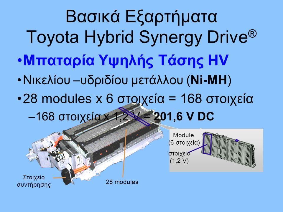Όταν ο διακόπτης EV είναι σε λειτουργία: –+/- 1 km –< 45 km/h σε επίπεδο δρόμο (με τη μπαταρία ΥΤ σε κανονική φόρτιση) Διακόπτης λειτουργίας ΕV Toyota Hybrid Synergy Drive ® Λειτουργία μόνο Ηλεκτρικό Μοτέρ