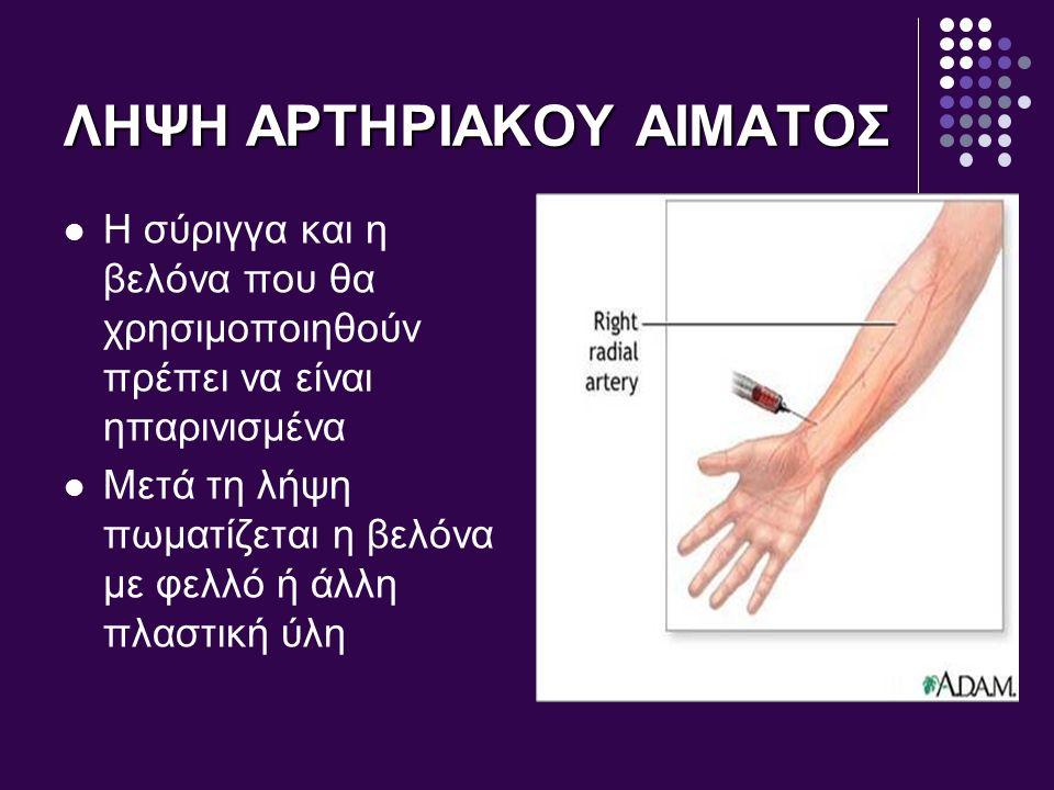 ΦΥΣΙΟΛΟΓΙΚΕΣ ΤΙΜΕΣ ΑΕΡΙΩΝ ΑΙΜΑΤΟΣ Αρτηριακό αίμαΦλεβικό αίμα Αρτηριακό αίμα Φλεβικό αίμα PO 2 80mmHg PO 2 40mmHg PCO 2 40mmHg PCO 2 46mmHg PH: 7,35 – 7,45 Κορεσμός αιμοσφαιρίνης: 95 -100 %