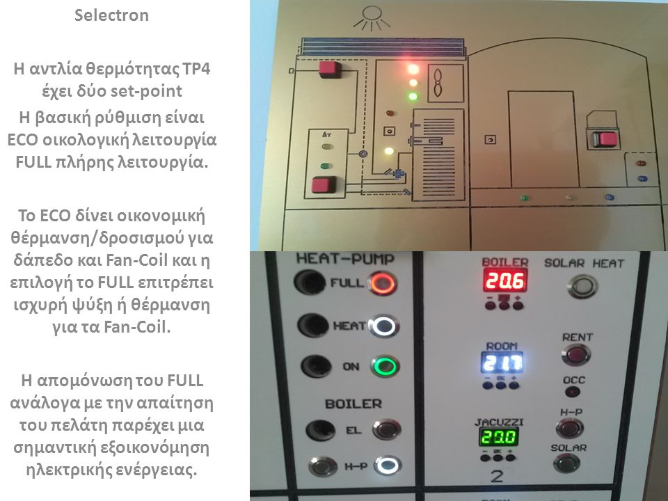 Selectron Δροσισμός δαπέδου είναι η βασική λειτουργία τους θερινούς μήνες.