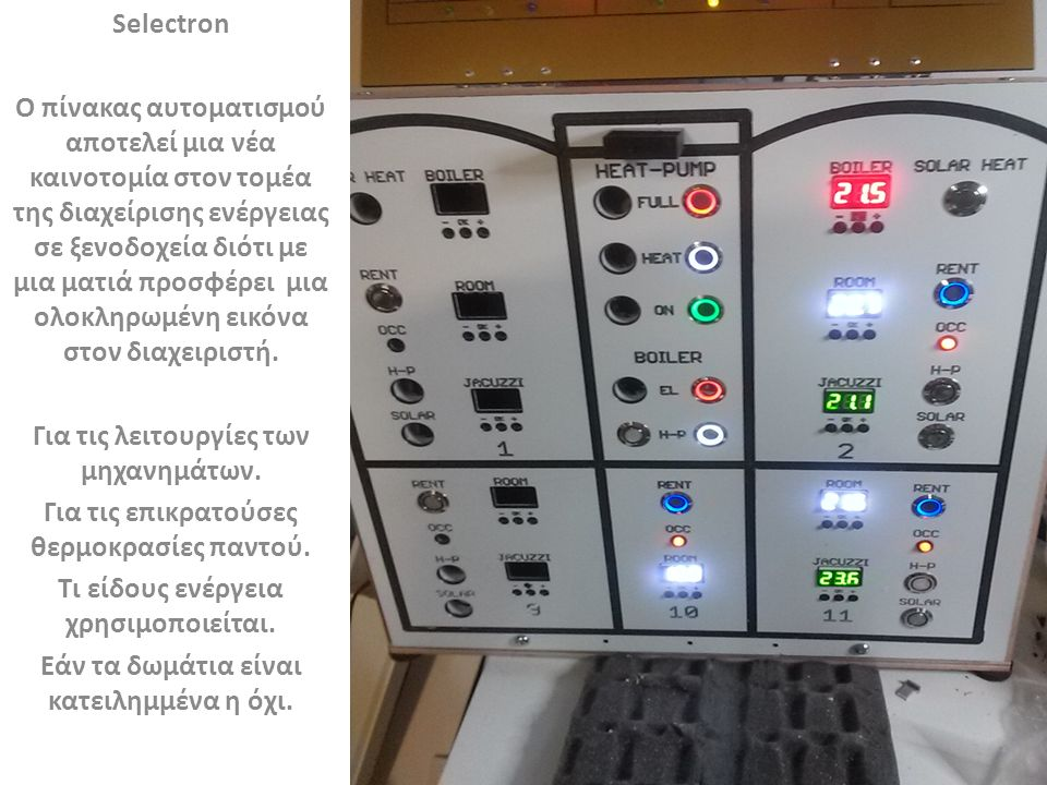 Selectron Ο χειρισμός γίνεται με απλά μπουτόν που όταν είναι πατημένα δίνουν μια φωτεινή ένδειξη για την θέση ΟΝ ενεργοποιώντας τους παράλληλους πίνακες των ρελέδων ελέγχου που βρίσκονται στα επιμέρους μηχανο/σια παρέχοντας σε εσάς: Εύκολο χειρισμό.