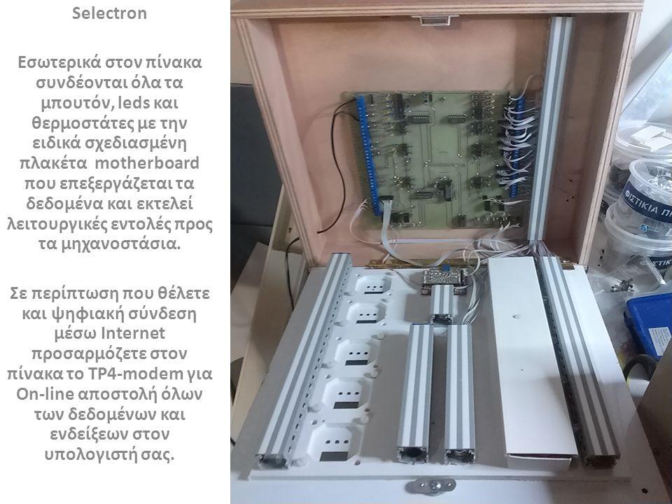 Selectron Οι θερμοστάτες είναι ψηφιακού τύπου με ενσωματωμένο ρελέ εξόδου και trimmer για καλιμπράρισμα των διαφόρων αισθητηρίων.