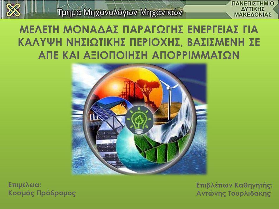 Σκοπός: Η μελέτη μονάδας παραγωγής ενέργειας για κάλυψη νησιωτικής περιοχής βασισμένη σε ΑΠΕ και αξιοποίηση απορριμμάτων.