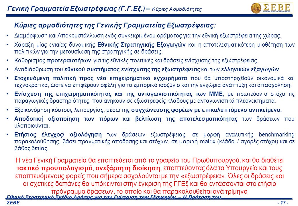 - 18 - Εθνικό Στρατηγικό Σχέδιο Δράσης για την Ενίσχυση των Εξαγωγών – Η Πρόταση του ΣΕΒΕ Συντονισμός Δράσεων ενίσχυσης Εξωστρέφειας Αξιοποίηση Δικτύων Εξωτερικών Σχέσεων Παρακολούθηση Εξαγωγικού Εμπορίου Σχεδίαση και Ανάθεση Δράσεων Εξωστρέφειας Ενίσχυση Εξαγωγικού Εμπορίου  Συμμετοχή εκπροσώπων όλων των Φορέων εξωστρέφειας (Δημόσιου και Ιδιωτικού Τομέα)  Χάραξη Εθνικής Στρατηγικής Εξαγωγών  Προτάσεις πολιτικών και δράσεων στήριξης εξαγωγών  Ετήσιος έλεγχος και αξιολόγηση δράσεων εξωστρέφειας  Συντονισμός Δικτύου ΟΕΥ  Ενεργοποίηση και συντονισμός λοιπών Φορέων Εξωστρέφειας στο εξωτερικό  Αξιοποίηση της Ομογένειας (π.χ.
