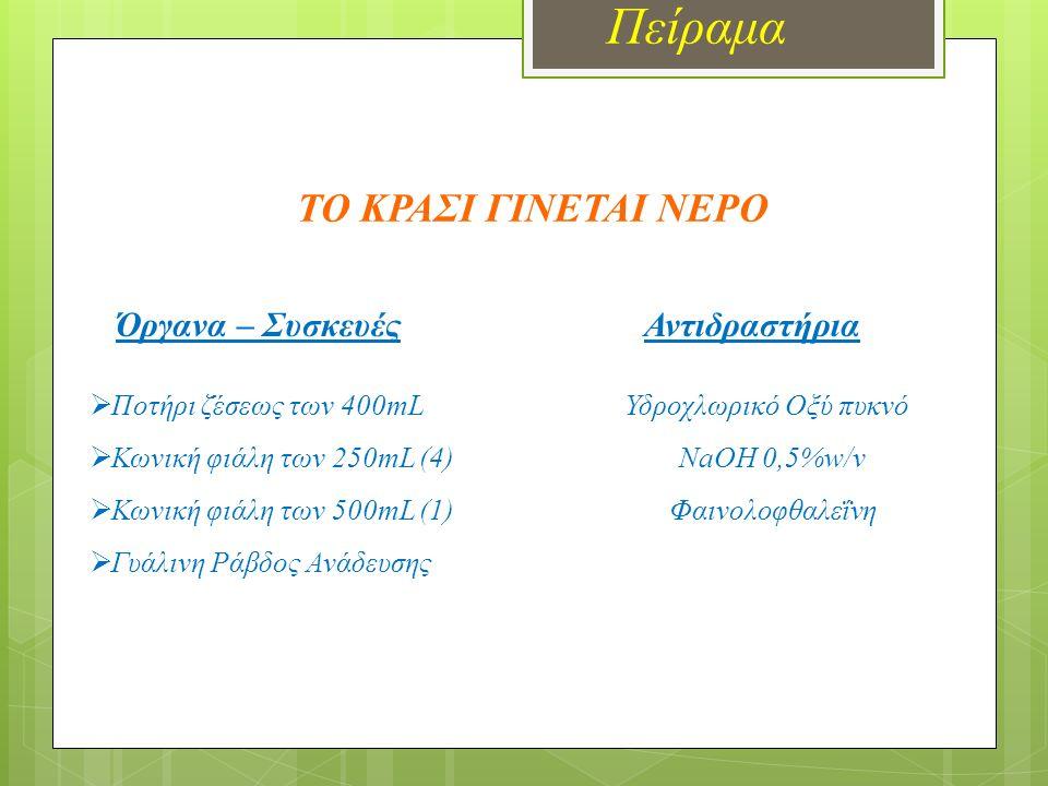 Πείραμα Όργανα – Συσκευές Αντιδραστήρια  Υδροβολέας HC ℓ 0,5Μ  Ποτήρι ζέσεως 100mL (5) NaOH 0,5M  Ποτήρι ζέσεως 400mL Μπλέ της βρωμοθυμόλης  Γυάλινη Ράβδος Ανάδευσης Μπλέ της θυμόλης  Απιονισμένο ΝερόΦαινολοφθαλεΐνη  Πεχαμετρικό χαρτί  Πεχάμετρο  Ετικέτες Διαδοχικές εξουδετερώσεις οξέος από βάση