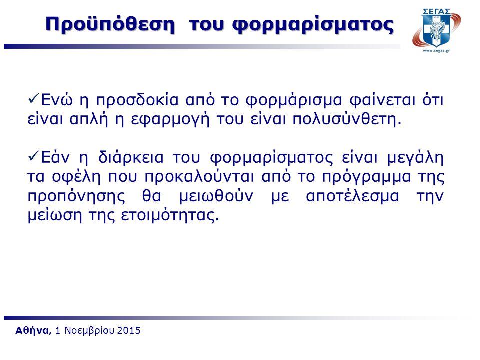 Αθήνα, 1 Νοεμβρίου 2015 Προϋπόθεση του φορμαρίσματος