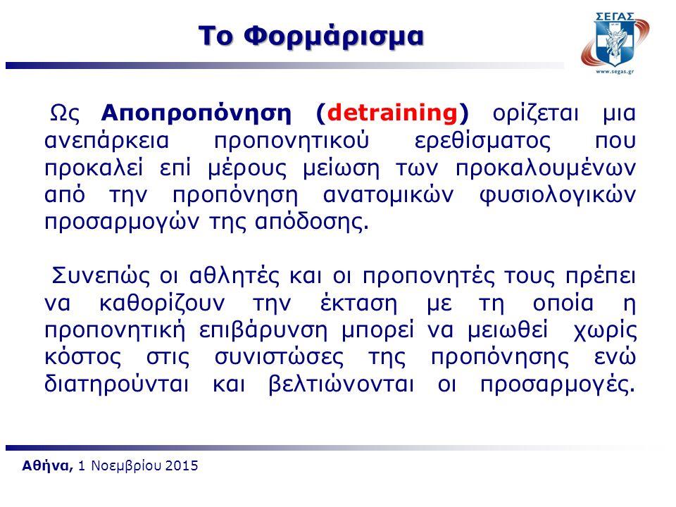 Παράγοντες που επηρεάζουν το φορμάρισμα είναι:  Όγκος προπόνησης  Ένταση προπόνησης  Συχνότητα προπόνησης  Διάρκεια φορμαρίσματος Αθήνα, 1 Νοεμβρίου 2015 Το Φορμάρισμα