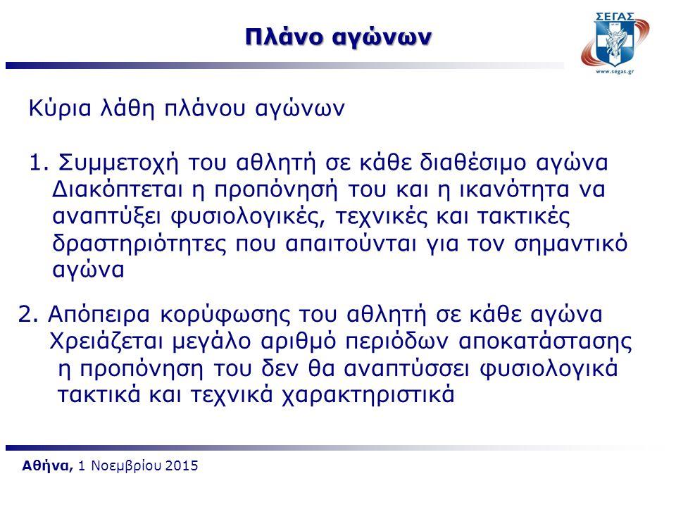 Αθήνα, 1 Νοεμβρίου 2015 Πλάνο αγώνων Συνιστάται η χρήση ειδικών στρατηγικών φορμαρίσματος για συμμετοχή σε 2 ή 3 αγώνες και στους υπόλοιπους που έχουν προγραμματιστεί συνιστάται να συμπεριλαμβάνονται σε ειδικές μέρες προπόνησης (τεστ)ή σε μικρότερης έμφασης αγώνες Επιβάλλεται σχεδιασμός κατάλληλης αγωνιστικής προπονητικής περιόδου