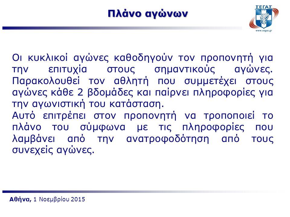 Αθήνα, 1 Νοεμβρίου 2015 Πλάνο αγώνων