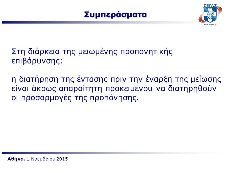 Αθήνα, 1 Νοεμβρίου 2015 Στη διάρκεια της μειωμένης προπονητικής επιβάρυνσης:  Η μείωση του όγκου προπόνησης κατά 40-60% αυξάνει την πιθανότητα καλύτερης επίδοσης  Η ιδανική διάρκεια της μειωμένης προπονητικής επιβάρυνσης φαίνεται ότι είναι 2-3 εβδομάδες  Η συχνότητα άσκησης ακόμα και αν μειωθεί 50% οι προσαρμογές της προπόνησης δεν επηρεάζονται αρνητικά.