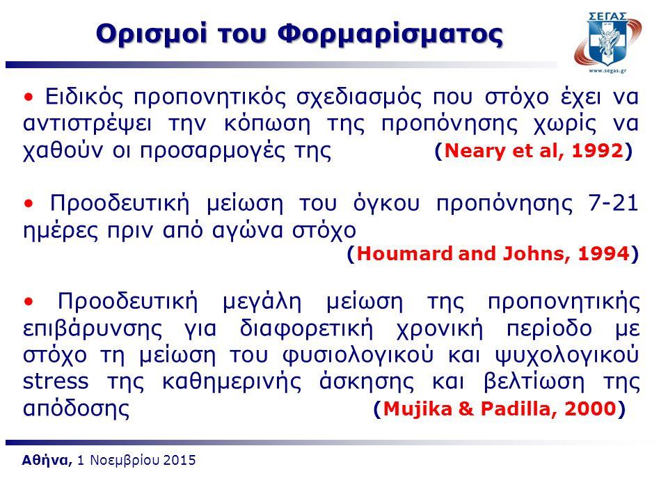 Αθήνα, 1 Νοεμβρίου 2015 Μια χρονική περίοδο όπου ο όγκος της προπονητικής επιβάρυνσης μειώνεται πριν από αγώνα με στόχο τη μεγιστοποίηση της επίδοσης σε συγκεκριμένη χρονική στιγμή (Thomas & Busso, 2005) Χρονική περίοδο μειωμένου όγκου και αυξημένης έντασης που σχεδιάζεται πριν από σημαντικό αγώνα (McNeely & Wandlerw,2007) Ορισμοί του Φορμαρίσματος