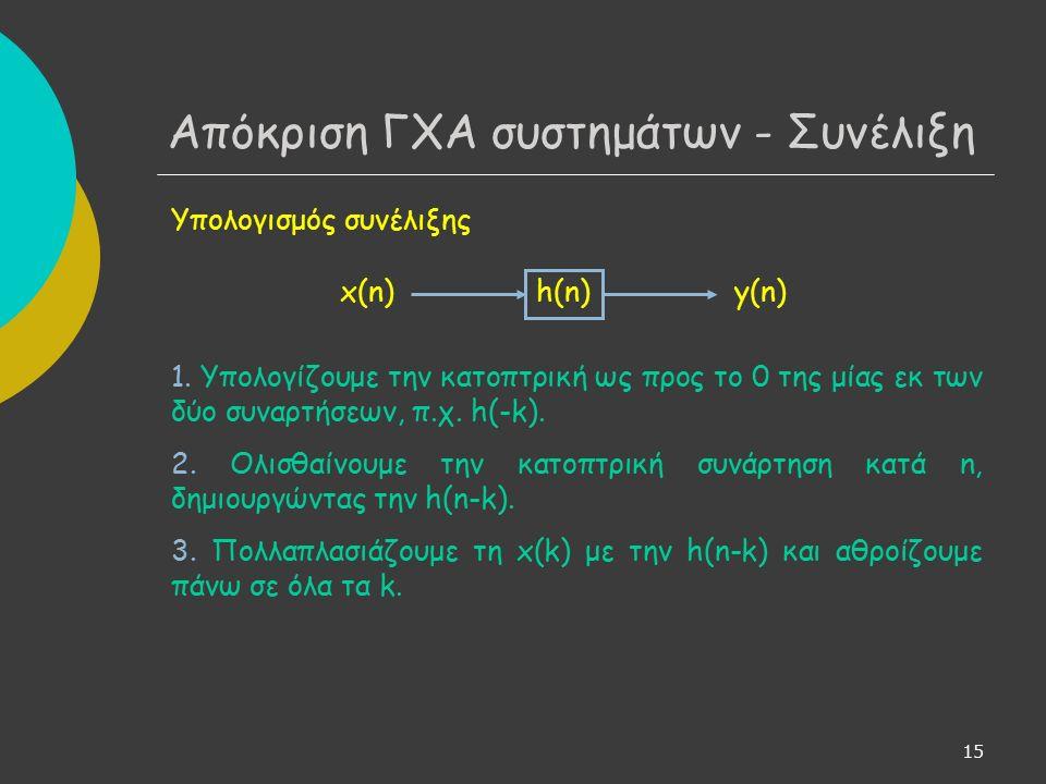 16 Αποδεικνύεται ότι ένα ΓΧΑ σύστημα είναι ευσταθές κατά ΦΕΦΕ, αν και μόνο αν η ακολουθία της κρουστικής απόκρισης είναι απόλυτα αθροίσιμη: Για να ισχύει το παραπάνω πρέπει  h(n)  -> 0 για n -> ∞ Πρέπει δηλαδή η μνήμη του συστήματος να τείνει στο μηδέν για το μακρινό παρελθόν.