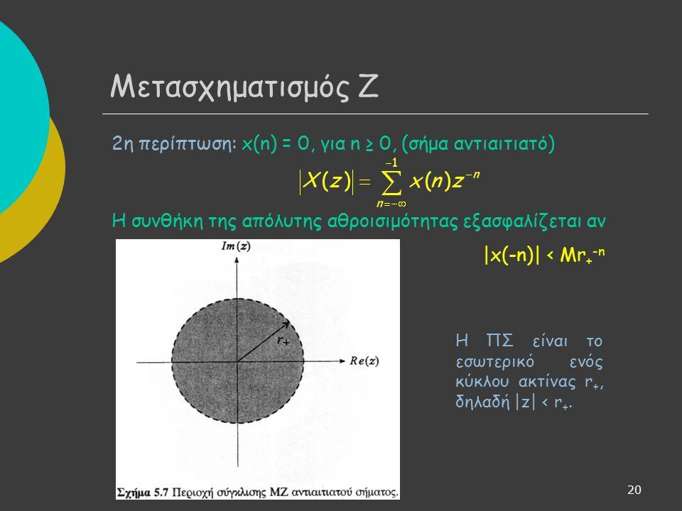 21 3η περίπτωση: x(n) ≠ 0 για θετικές και αρνητικές τιμές του n Η συνολική απόλυτη αθροισιμότητα ισοδυναμεί με την αθροισιμότητα των επιμέρους όρων.