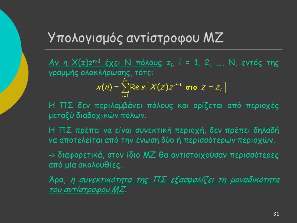 32 Υπολογισμός αντίστροφου ΜΖ Υπολογισμός με ανάπτυξη σε δυναμοσειρά - Ανάπτυξη του Χ(z) σε δυναμοσειρά - Υπολογισμός x(n) με αντιστοίχιση στους συντελεστές της δυναμοσειράς Ανάπτυξη σε δυναμοσειρά: - με γνωστές μαθηματικές σχέσεις (αν εφαρμόζονται) - με συνεχή διαίρεση Η μεθοδολογία της διαίρεσης δεν είναι υπολογιστικά αποδοτική και χρησιμοποιείται κυρίως για τον υπολογισμό των πρώτων όρων του αναπτύγματος.