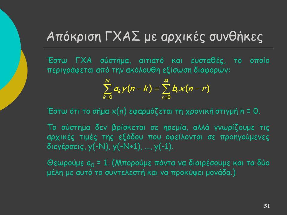 52 Απόκριση ΓΧΑΣ με αρχικές συνθήκες Παίρνοντας μονόπλευρο ΜΖ και στα δύο μέλη και χρησιμοποιώντας την ιδιότητα της ολίσθησης έχουμε: ή Η(z): συνάρτηση μεταφοράς συστήματος (κατάσταση ηρεμίας) Ν(z)/A(z): συνεισφορά αρχικών συνθηκών στη δημιουργία του σήματος εξόδου