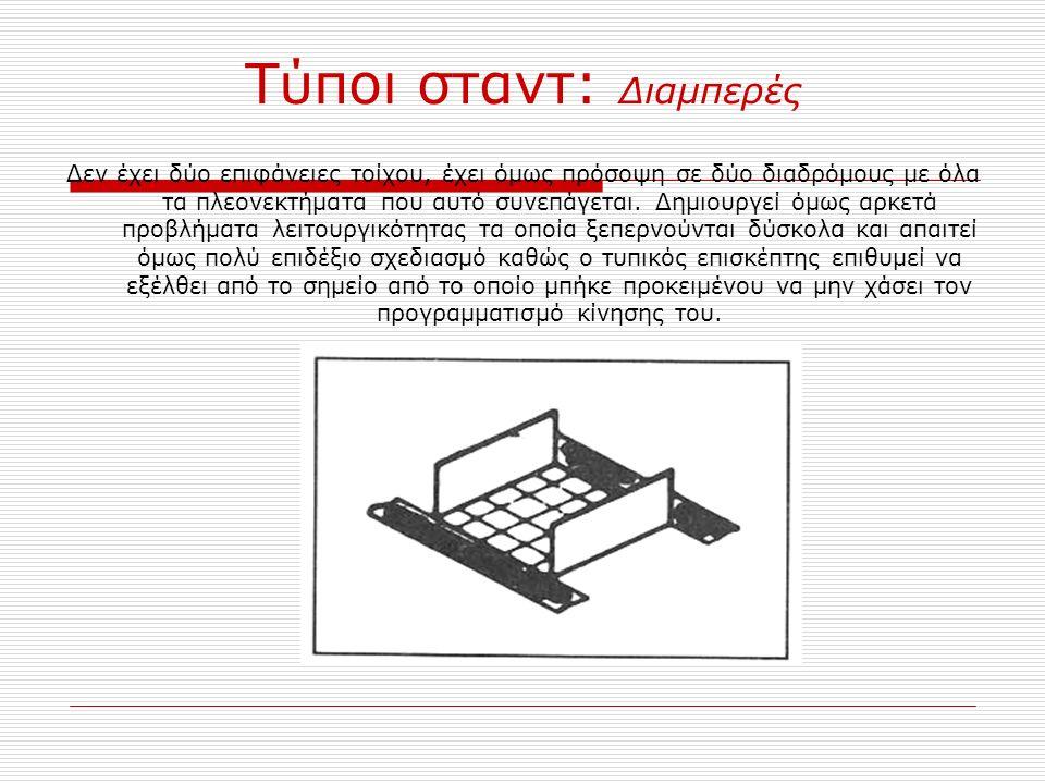 Τύποι σταντ: Εξωτερικού χώρου Τα σταντ εξωτερικού χώρου προορίζονται συνήθως για επιχειρήσεις με ογκώδη και βαριά εκθέματα (μεγάλα φορτηγά, κλπ.) που είτε αδυνατούν είτε απαγορεύεται να εκτεθούν σε εσωτερικούς χώρους.