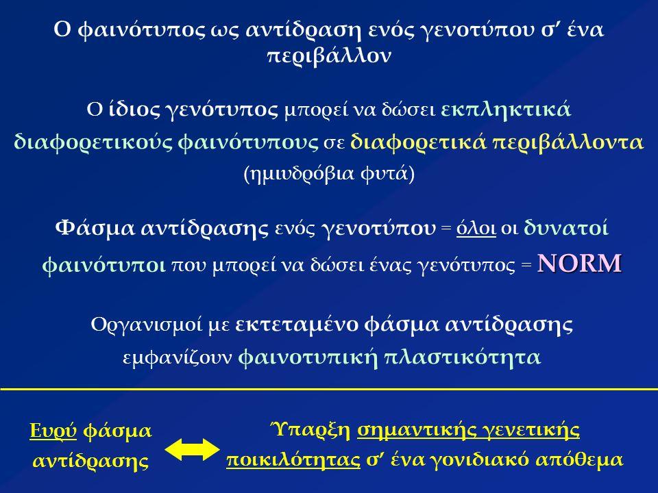 Σημαντικές ιδιότητες του φαινότυπου Σταθερότητα φαινότυπου: η πρωτοδιάταξη (αλληλουχία βάσεων) της ακτίνης στη ζύμη και στον άνθρωπο (91% ΟΜΟΙΟΤΗΤΑ) Ικανότητα αλλαγής φαινότυπου: αρκετά πλαστικός ώστε να επιτρέπει την προσαρμογή σε νέα περιβάλλοντα ή μεγάλες αλλαγές