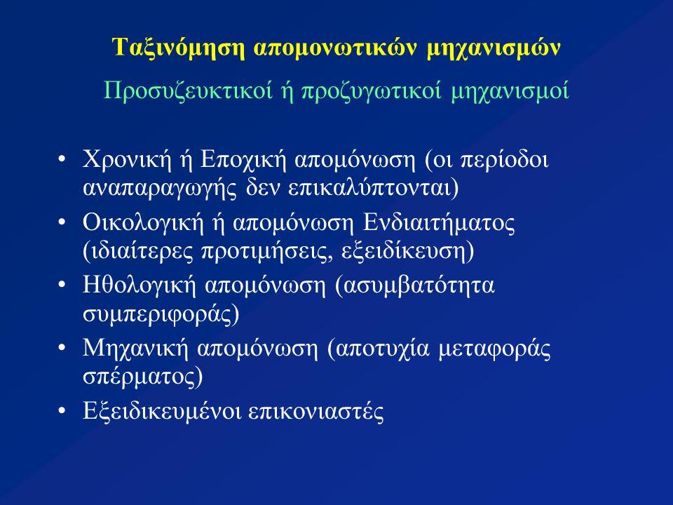 Ταξινόμηση απομονωτικών μηχανισμών Μετασυζευκτικοί ή μεταζυγωτικοί μηχανισμοί: Γαμετική απομόνωση (ασυμβατότητα γαμετών) Θνησιμότητα ζυγωτού (γονιμοποίηση ωαρίου και άμεσος θάνατος ζυγώτη) Μη βιωσιμότητα υβριδίου (μειωμένη βιωσιμότητα στην F1) Στειρότητα υβριδίου (πλήρως βιώσιμο αλλά με μερική ή ολική στειρότητα που μπορεί να εκφράζεται στην F1, F2 ή και αργότερα = υβρι- διακή κατάπτωση)
