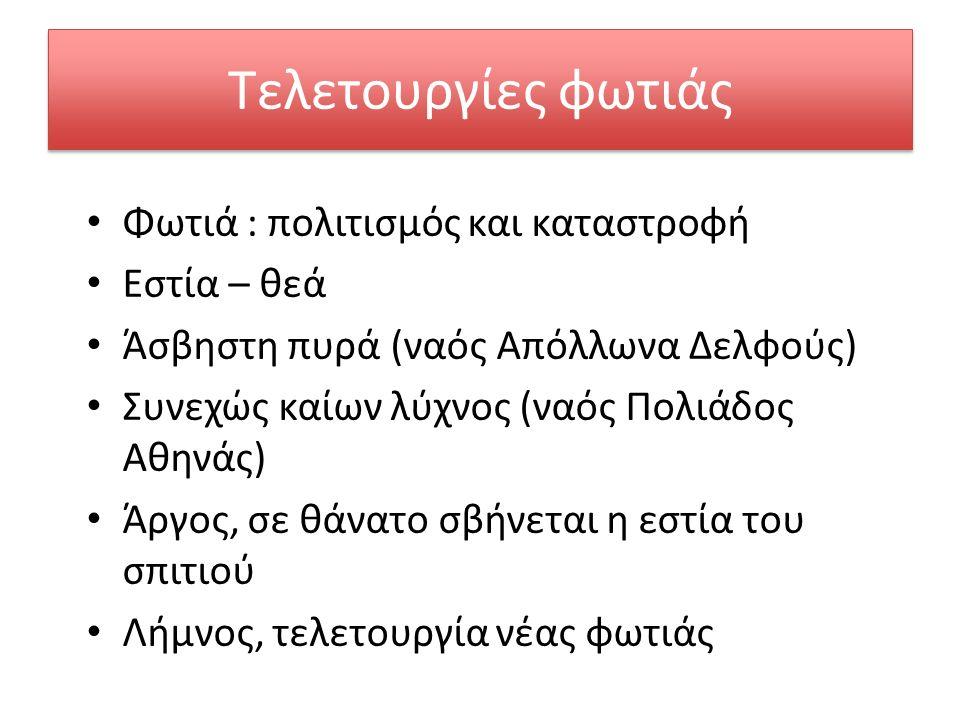 Τελετουργίες πυράς Θυμίαμα (θύειν) Λιβάνι και μύρα (700 π.Χ.) Εορτή της Λαφρίας Αρτέμιδος (Πάτρα) ολοκαυτώματα