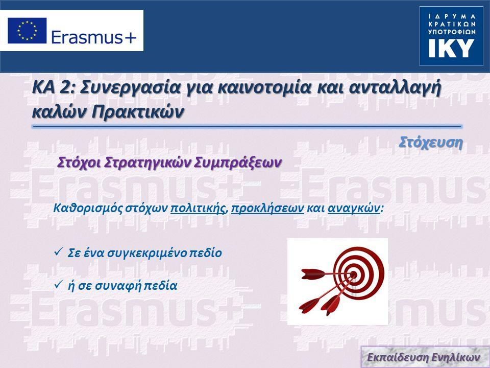 ΚΑ 2: Συνεργασία για καινοτομία και ανταλλαγή καλών Πρακτικών Αναδιάρθρωση και Ανάπτυξη πολιτικών σε Ευρωπαϊκό, τοπικό και Εθνικό επίπεδο Τον εκσυγχρονισμό των συστημάτων εκπαίδευσης ενηλίκων (μη τυπικής μάθησης) Την διεθνοποίηση των οργανισμών εκπαίδευσης ενηλίκων Μεταφορά, ανάπτυξη και εφαρμογή καινοτόμων πρακτικών σε τοπικό, περιφερειακό αλλά και επίπεδο φορέα Καθοδήγηση σε υψηλά επίπεδα διδασκαλίας, μάθηση, εκσυγχρονισμός φορέων και κοινωνική καινοτομία Οι Στρατηγικές Συμπράξεις Εκπαίδευσης Ενηλίκων στηρίζουν: Εκπαίδευση Ενηλίκων