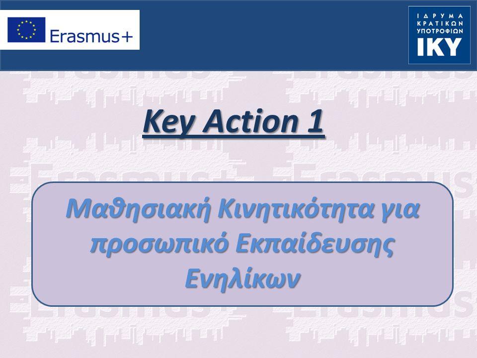 ΚΑ 1: Μαθησιακή Κινητικότητα Ατόμων Στόχοι Αύξηση δεξιοτήτων και ικανοτήτων για προσωπικό εκπαίδευσης ενηλίκων Αύξηση της ποιότητας εκπαίδευσης και μάθησης Ευρύτερη κατανόηση πρακτικών και πολιτικών μεταξύ των χωρών Πυροδότηση αλλαγών στο άνοιγμα του εκσυγχρονισμού και της διεθνοποίησης των εκπαιδευτικών φορέων Εκπαίδευση Ενηλίκων
