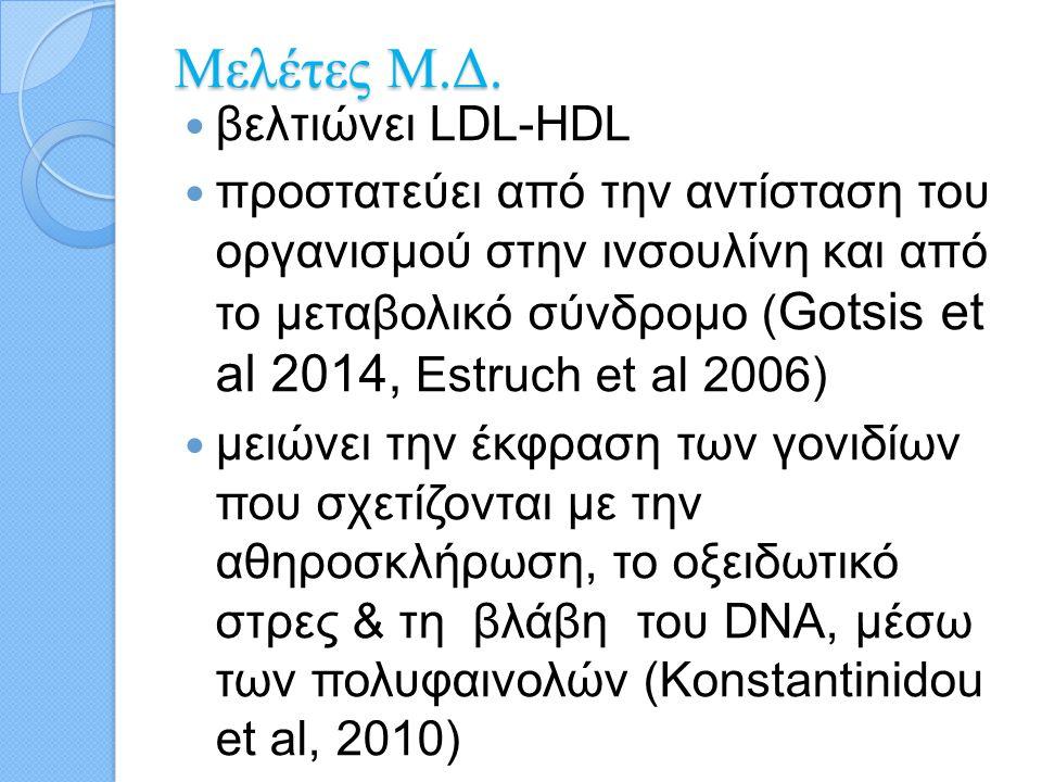 προστατεύει από τη στεφανιαία νόσο και κατ' επέκταση από την αναλογία στεφανιαίας νόσου και διαβήτη πιθανόν να προστατεύει και από το διαβήτη παρέχει προστασία κατά της στεφανιαίας θνησιμότητας (Gotsis et al 2014, Trichopoulou et al 2007, Mitrou et al 2007)