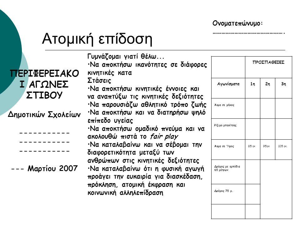 Ενέργειες για την Οργάνωση Αγώνων Γ) Δίπλωμα συμμετοχής στο πίσω μέρος της Καρτέλας Ατομικής Επίδοσης ( Βλ σχετικό δείγμα στην ιστοσελίδα) ή από το ΥΠΠ
