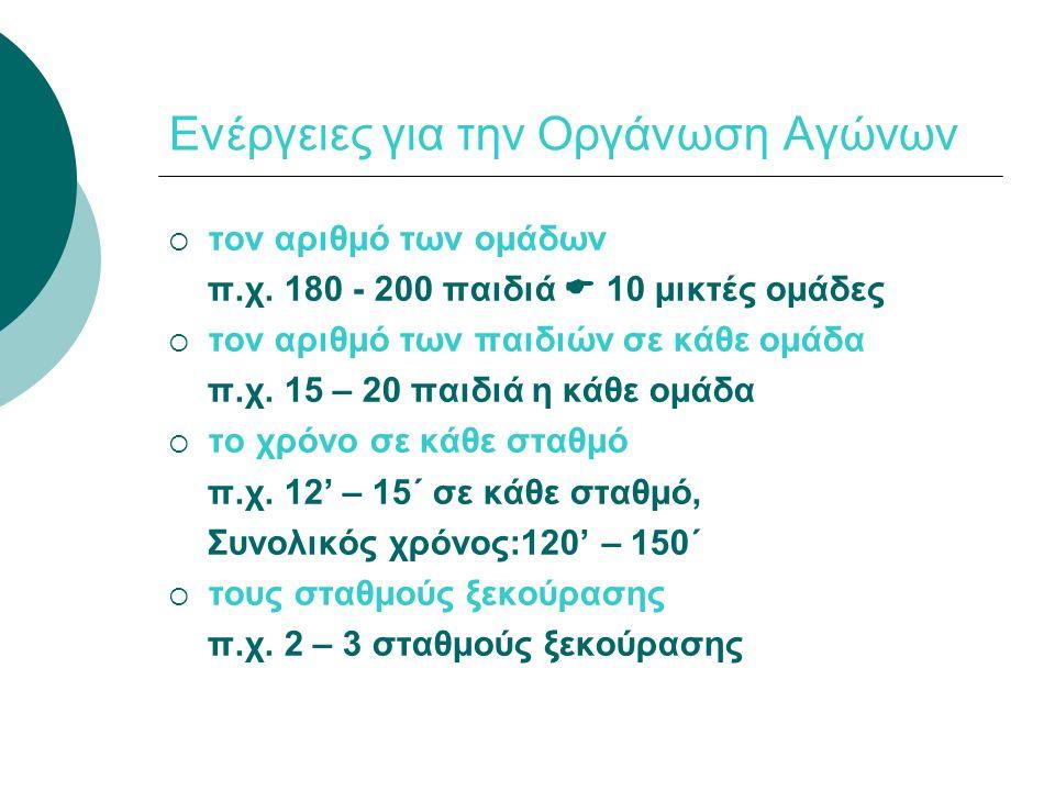 Ενέργειες για την Οργάνωση Αγώνων  Τα καθήκοντα των δασκάλων Ομαδάρχης Δάσκαλος (αριθμός ανάλογος ομάδων) Σταθερός Δάσκαλος (αριθμός ανάλογος με τα αγωνίσματα που χρειάζονται ΣΔ)  1 ΣΔ: Άλμα σε μήκος, Άλμα σε ύψος και στην μπαλίτσα  3 ΣΔ: Εμπόδια 65μ και 75μ.