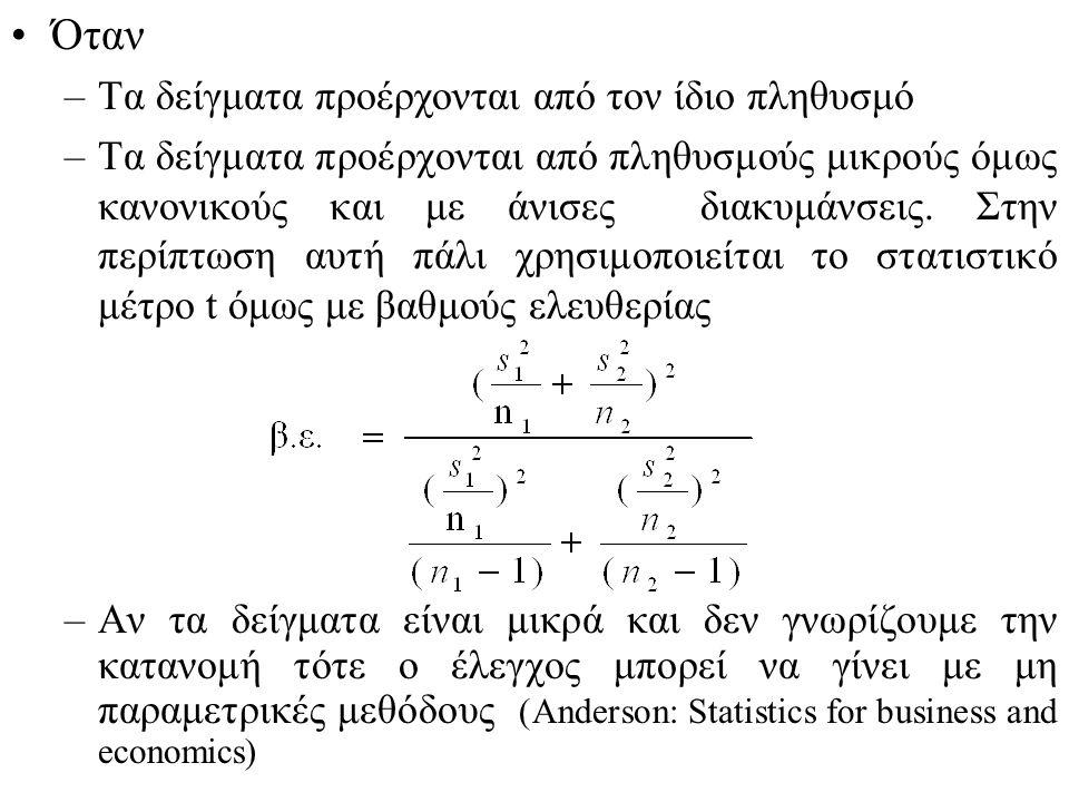 Όταν –Τα δείγματα προέρχονται από τον ίδιο πληθυσμό –Τα δείγματα προέρχονται από πληθυσμούς μικρούς όμως κανονικούς και με άνισες διακυμάνσεις.