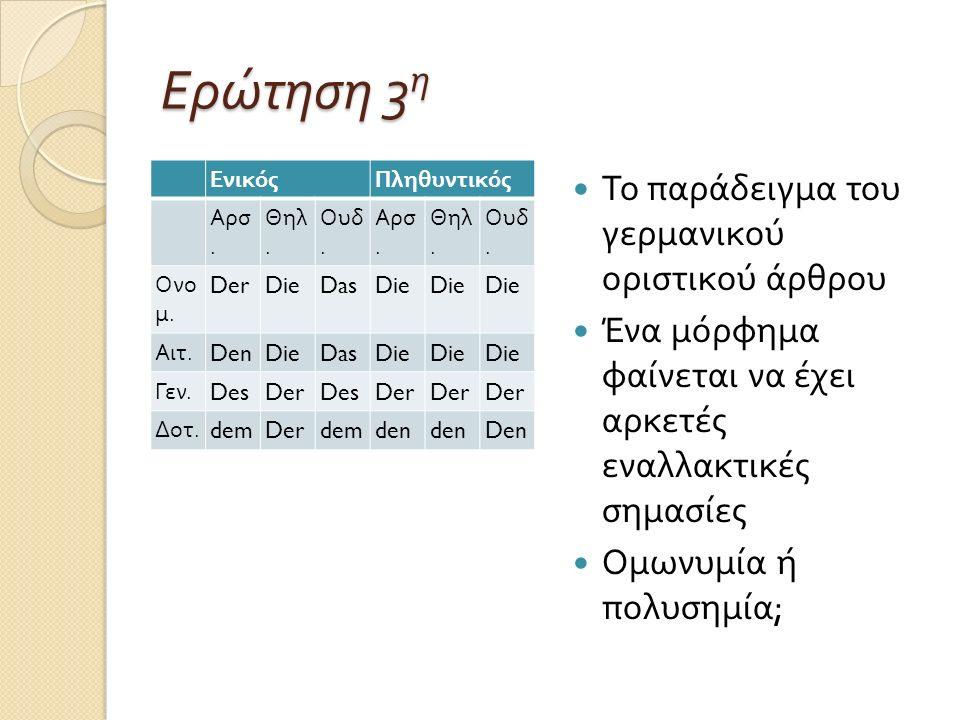 Συγκρητισμός Δύο βασικές παρατηρήσεις : ο Πληθυντικός είναι κοινός σε όλα τα γένη, ενώ και η Ονομαστική και η Αιτιατική είναι ίδια ( με εξαίρεση τον Ενικό του αρσενικού γένους ) Τυχαίες διαπιστώσεις ;