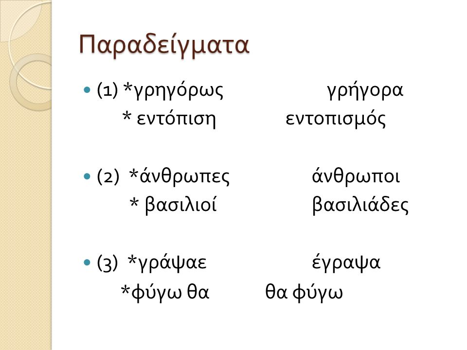 Με άλλα λόγια … (1) Η επιλογή των μορφημάτων (2) Η μορφή των μορφημάτων ( σωστά αλλόμορφα ) (3) Η σειρά των σωστών μορφημάτων Αυτές είναι τρεις παράμετροι στο επίπεδο της λέξης όπου μπορεί να γίνει διαγλωσσική σύγκριση Θα ορίσουμε βασικές ερωτήσεις για κάθε μία από τις τρεις παραμέτρους