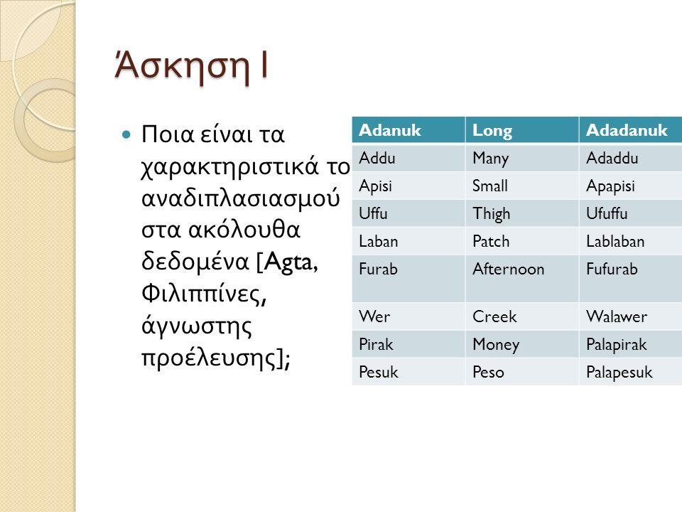 Άσκηση ΙΙ Ποια είναι τα μορφήματα στα ακόλουθα δεδομένα από τα Cheyenne (B.