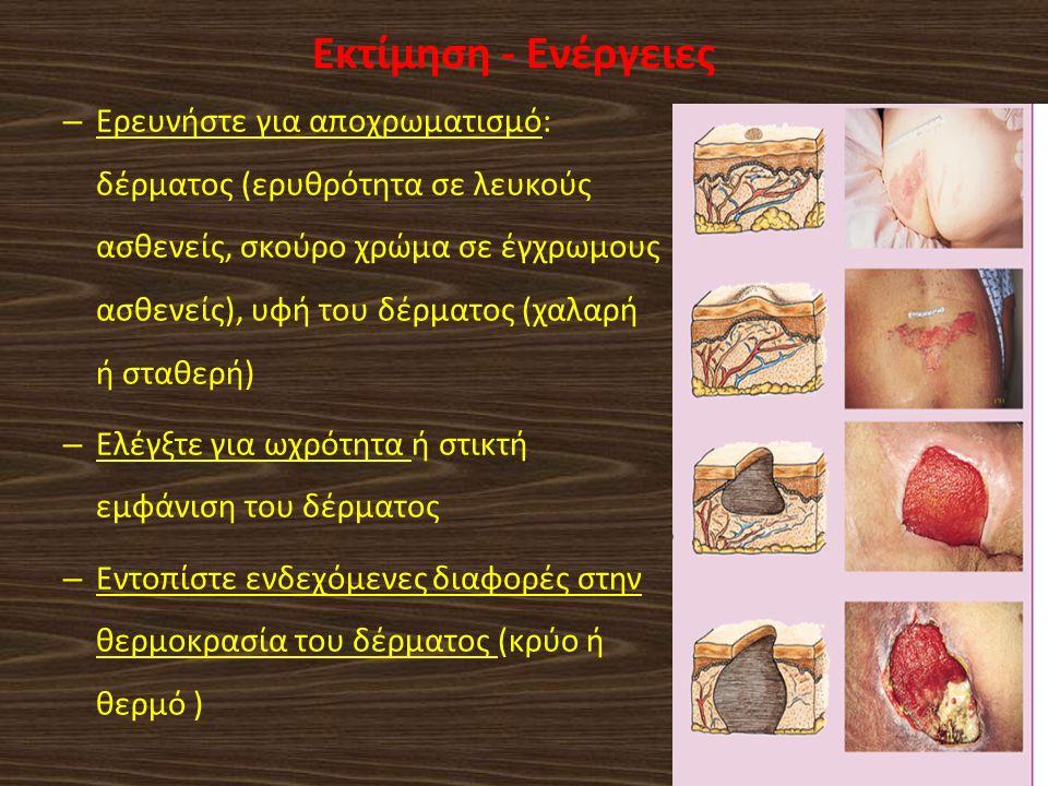 Αξιολογήστε την ύπαρξη επιπρόσθετων περιοχών άσκησης πίεσης: Ρώθωνες: Ρινογαστρικός καθετήρας Γλώσσα και χείλη: Στοματοφαρυγγικός αεραγωγός, ενδοτραχειακός σωλήνας Αυτιά: Ρινική κάνουλα παροχής οξυγόνου, μαξιλάρι Σωλήνες παροχέτευσης Παροχέτευση τραύματος Ουροκαθετήρας Foley Ορθοπεδικά εξαρτήματα και βοηθήματα τοποθέτησης Ρώθωνες: Ρινογαστρικός καθετήρας Γλώσσα και χείλη: Στοματοφαρυγγικός αεραγωγός, ενδοτραχειακός σωλήνας Αυτιά: Ρινική κάνουλα παροχής οξυγόνου, μαξιλάρι Σωλήνες παροχέτευσης Παροχέτευση τραύματος Ουροκαθετήρας Foley Ορθοπεδικά εξαρτήματα και βοηθήματα τοποθέτησης