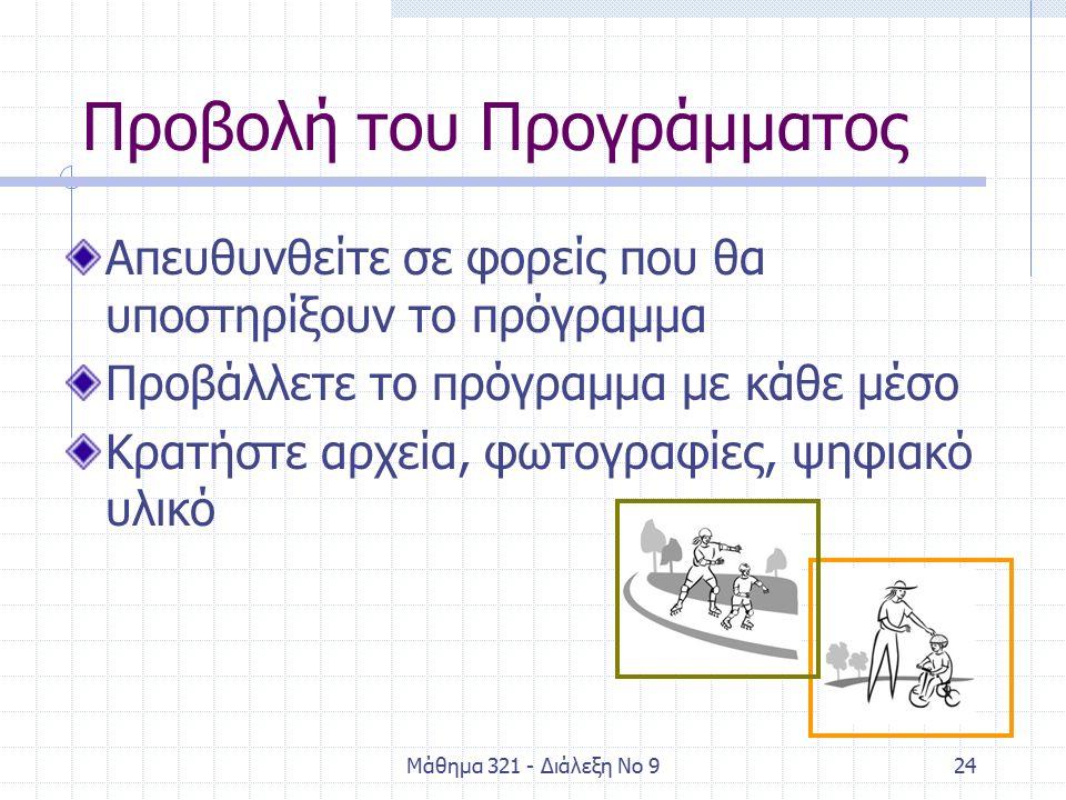 Μάθημα 321 - Διάλεξη Νο 925 Πιθανές απορίες Πρέπει να γίνουν όλα τα στάδια; Η σειρά των σταδίων πρέπει να είναι η προτεινόμενη; Πόσο θα κρατήσει το πρόγραμμα; Πότε και που θα γίνουν τα στάδια των αλληλεπιδράσεων;