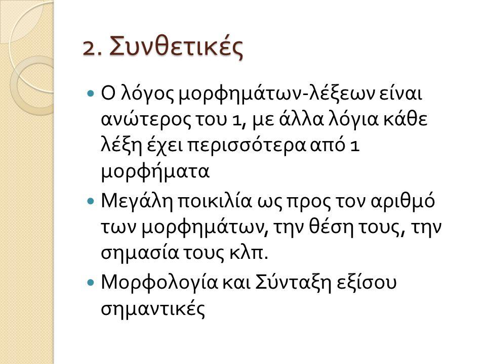 Παραδείγματα συνθετικών Resim-ler-imiz picture-PL-1PL.POSS kardeh-ler-iniz-in-ki-ler-den brother-PL-2PL.POSS-GEN-PRO-PL-ABL kıymet-li-dir value- ADJECTIVISER-be.3 'Our pictures are more valuable than those of your brothers' Τουρκική (Lewis, 1967)