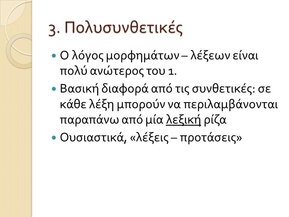 Παραδείγματα πολυσυνθετικών tusaa-nngit-su-usaar-tuaannar-sinnaa-nngi- vip-putit hear-not-PARTICIPLE INTRANS -pretend- always-can-not-really-2SG.INDICATIVE 'You simply cannot pretend not to hear all the time' Kalaallisut (Fortescue,1984)