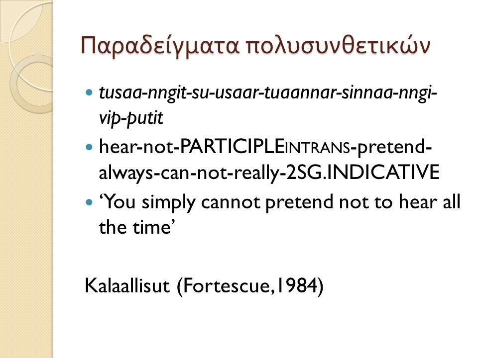 Όχι απόλυτες κατηγορίες Ο χαρακτηρισμός των γλωσσών δεν γίνεται πια κατά απόλυτο τρόπο, αλλά μόνο σχετικά, με βάση τον κυρίαρχο τρόπο δόμησης των συστατικών Βασικό κριτήριο : συχνότητα