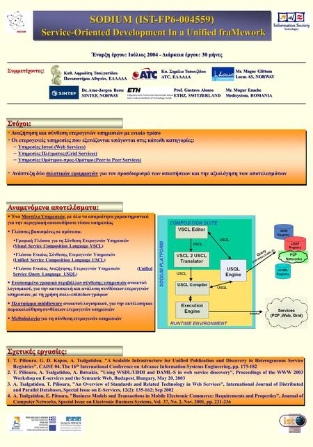 Αναμενόμενα αποτελέσματα: SODIUM (IST-FP6-004559) Service-Oriented Development In a Unified fraMework Service-Oriented Development In a Unified fraMework.