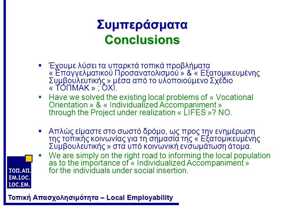 Τοπική Απασχολησιμότητα – Local Employability Συμπεράσματα Conclusions  Διαθέτουμε σήμερα σε έντυπη και ηλεκτρονική μορφή ένα κατάλληλο εργαλείο : τον « Οδηγό Εξατομικευμένης Συνοδείας Μικρο-Επιχειρηματία ».