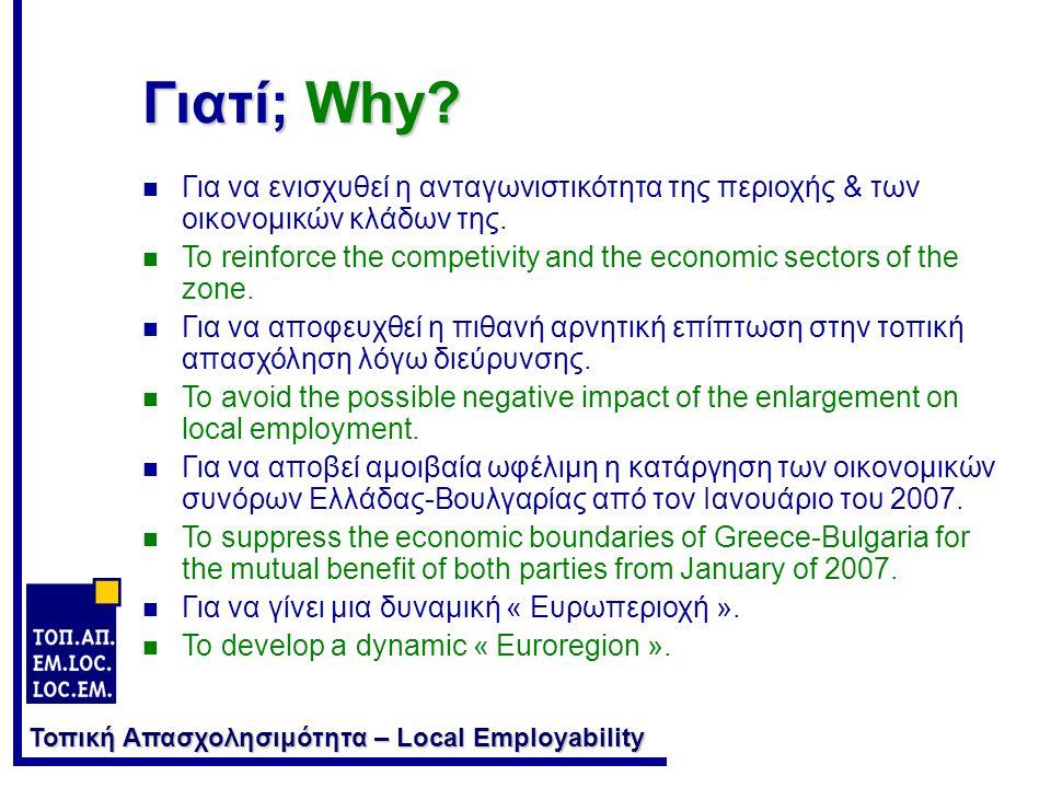Τοπική Απασχολησιμότητα – Local Employability Ποια τα κοινά στοιχεία εκκίνησης ; What are the common elements for the commencement of the action .