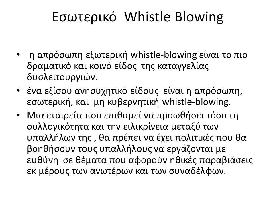 Precluding the Need for Whistle- Blowing • Η ανάγκη για ηθικούς ήρωες δείχνει μια ελαττωματική κοινωνία και ελαττωματικές εταιρείες.
